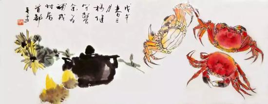 《菊黄蟹肥》(徐健20岁作,徐健画熟蟹,恩师王雪涛补成并题)