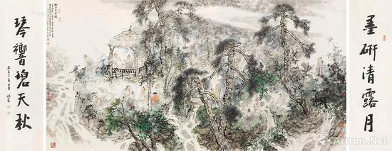 王明明 2007年作 溪山文会图、行书五言联