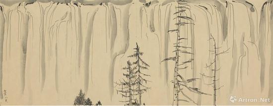 《瀑》 22x58cm 1985年 纸本