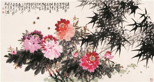 《富贵清高共一家》 68×138cm 2011年