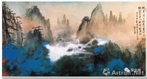 刘海粟 奇峰白云172cm×93.5cm 1988
