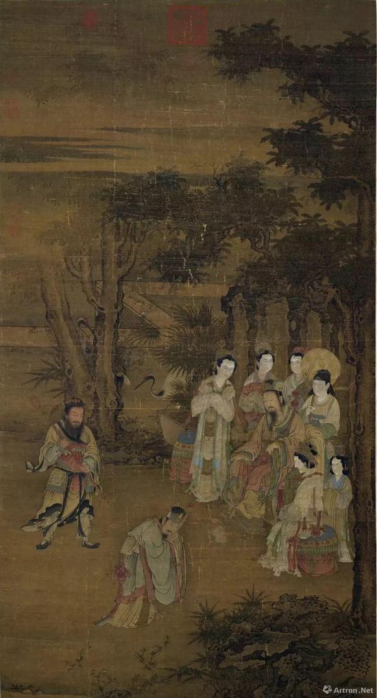宋人《却坐图》绢本设色,纵146.8厘米,横77.3厘米,现藏台北故宫博物院