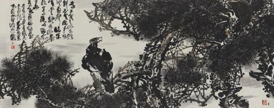 著名画家鲁石作品:松鹰