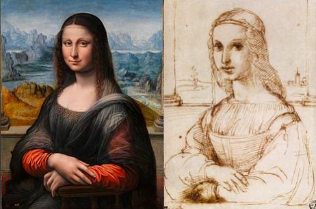 左为修复后普拉托临摹本,右为拉斐尔临摹本