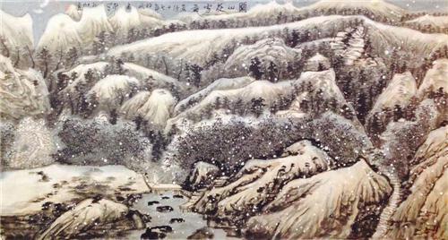 《关山夜雪图》178×90cm 2017年
