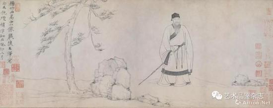 ■ 王绎、倪瓒作《杨竹西小像》纸本水墨27.7×86.8cm 北京故宫博物院藏