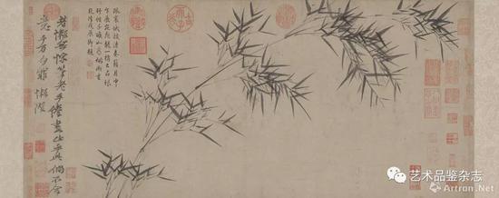 ■ 倪瓒《竹枝图》纸本墨笔 34×76.4cm 北京故宫博物院藏
