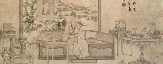 清人画 乾隆帝是一是二图像轴
