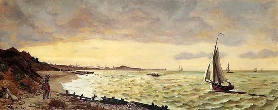 巴齐耶《圣阿德海斯的海滩》,布面油画,1865年