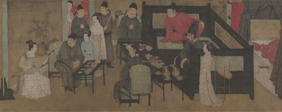此幅绘画充分表现了当时贵族们的夜生活重要内容——品茶听琴。