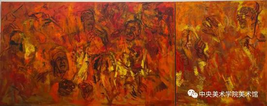 石煜,《流动的古韵之一》 180x450cm 布面油画 2018