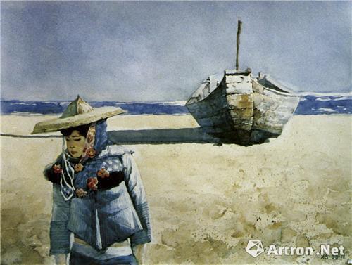 水彩《阳光·沙滩》100CM×80CM 1993年