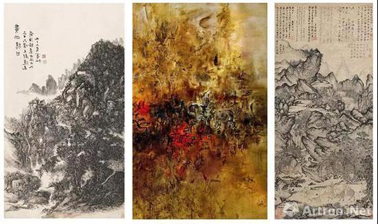 左图:黄宾虹 《黄山汤口》中图:《大地无形》局部   右图:王蒙 《稚川移居图》元代