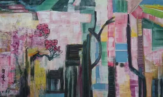 杨佴旻 有花的街上 69x100cm 2018年 宣纸 墨 国画色