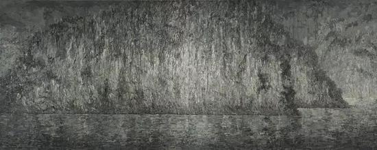 山水系列,布面油画7x2.5米,2011