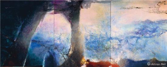 趙無極《致敬克勞德·莫奈》油彩畫布 194x483cm 1991年 臺灣私人收藏