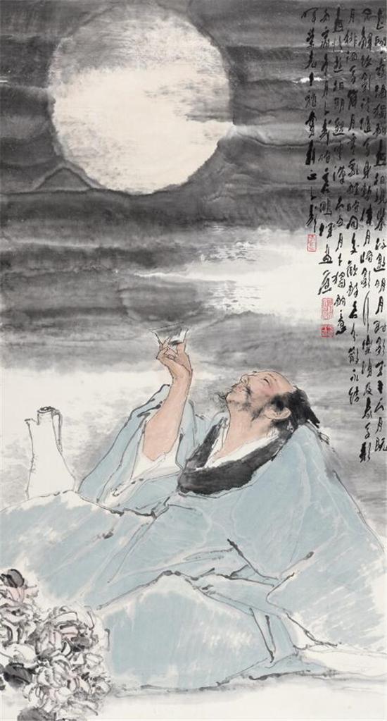 王子武太白邀月图 151.4 ×81.7cm  纸本设色 1986