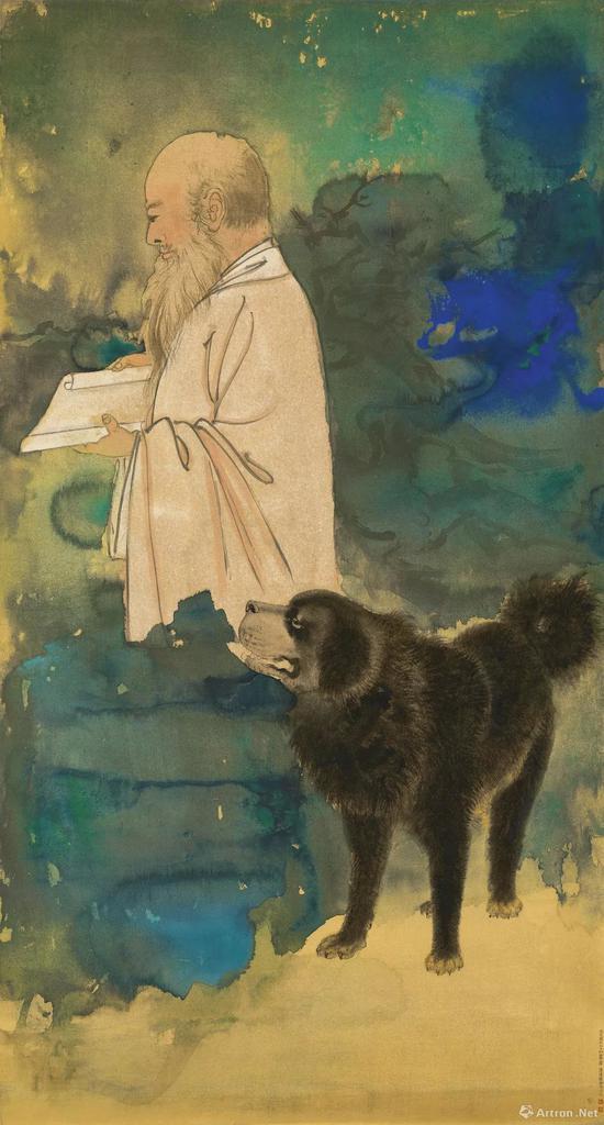 中国书画TOP1,张大千《自画像与黑虎》,成交价:4793.9万港元