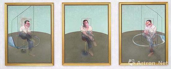 ▲培根三联画《Studies for a portrait of John Edwards》