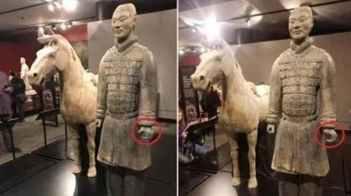 在美展览中一件兵马俑的拇指被人掰下盗走