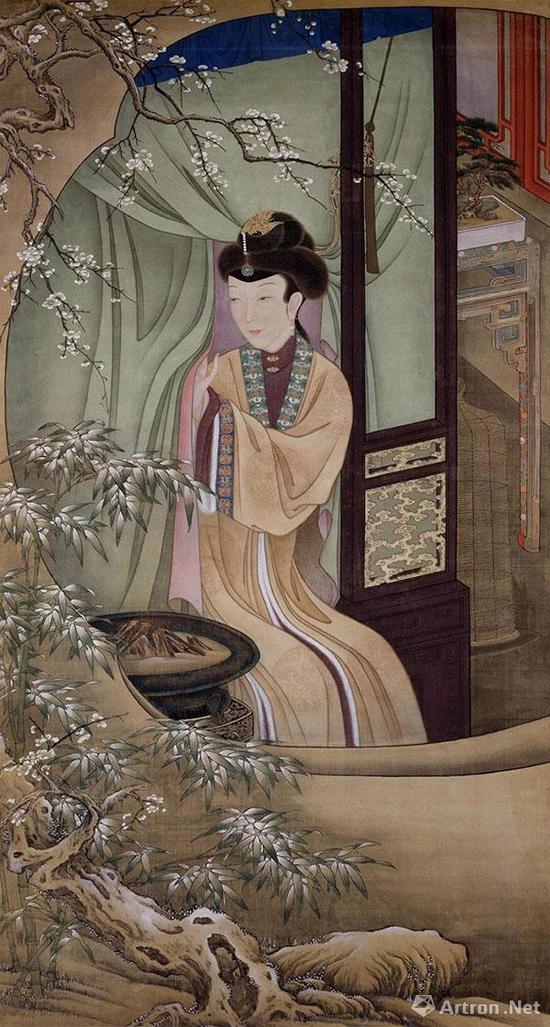 [清]胤禛《十二美人图》之《烘炉观雪》 绢本设色 184×198厘米 故宫博物院藏