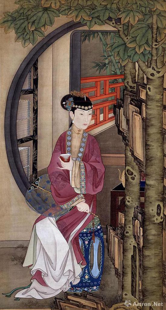 《十二美人图》之《桐荫品茶》