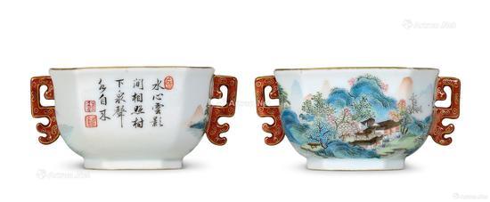 清雍正 唐英制粉彩山水纹题诗双耳方杯成交价:126.5万元 北京匡时