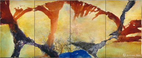 趙無極《12.89-02.90(四聯屏)》油彩畫布 162x400cm 1989-1990年