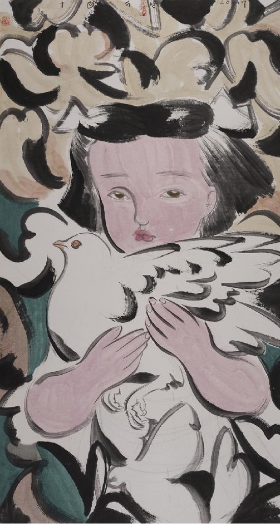 刘巨德《蒙童》, 纸本设色,2017年