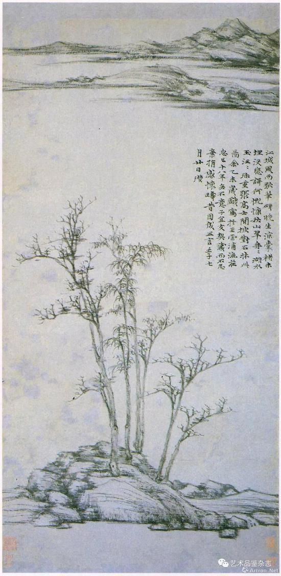 ■ 倪瓒《渔庄秋霁图》纸本 96.1×46.9cm 台北故宫博物院藏