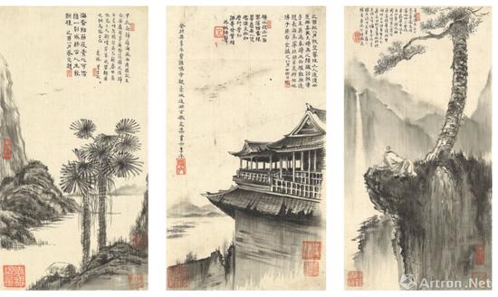 苏曼殊《曼殊上人墨玅》册页以2881.35万港币成交,超过拍前估价百余倍 香港蘇富比2018春拍 中间这件,楼阁的透视、体积感的塑造,明显借鉴了西方绘画的技法