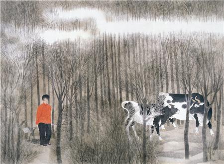 《秋深》134×180cm 绢本设色 1986年