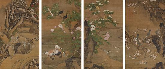 重要文化遗产 吕纪画四季花鸟图