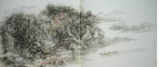 黄宾虹,《山水》,33x75.8cm,浙江博物馆藏