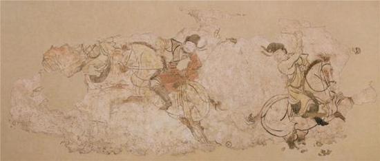 胡人打马球图 2004年陕西省富平县李邕墓出土 陕西省考古研究院藏