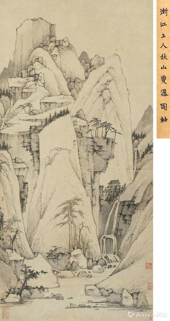 No.15渐江《秋山双瀑图》立轴