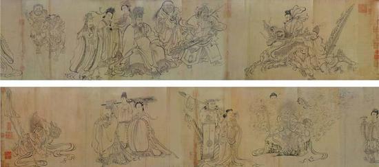 ▲《送子天王图》 纵35.5厘米,横338.1厘米 现珍藏于日本国大阪市立美术馆