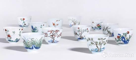 玫茵堂旧藏十二花神杯 北京保利供图