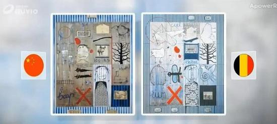 比利时媒体RTBF的报道 左:叶永青的作品 右:比利时艺术家西尔万的作品