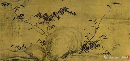苏轼 潇湘竹石图(局部) 绢本水墨 28105.6cm 现藏于中国美术馆