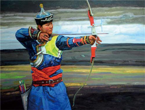 《蒙古射手》190×145cm 2007年