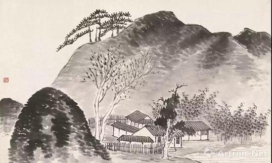 齐白石借山图(十五) 镜心 纸本设色30×48cm 1910年 北京画院藏
