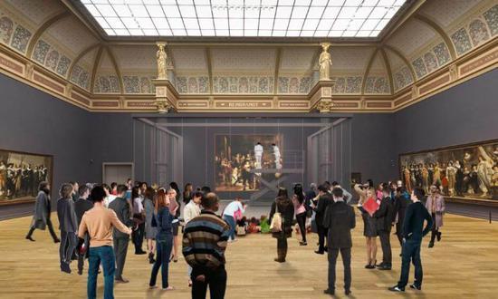 Wilmotte所绘制《夜巡》修复期间3D模拟图。图/荷兰国立博物馆提供