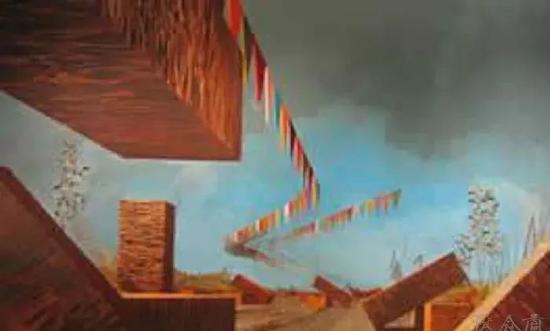大卫﹒施奈尔《包装箱》2003年,布面油彩,180.5×.280.cm