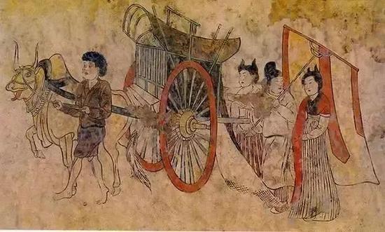 唐朝墓葬壁画中的牛拉安车