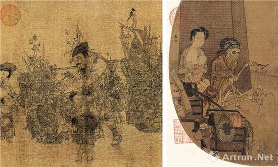 宋李嵩《货郎图》及李嵩(传)《骷髅幻戏图》作品中的货郎形象对比