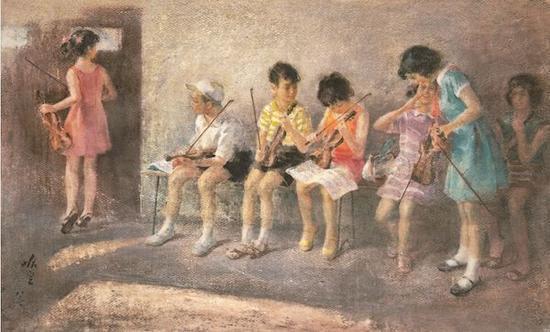 哈定《待考》 76×97cm纸本水彩 1983年