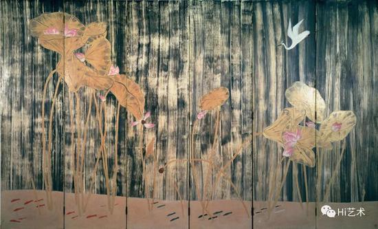 常玉《荷塘白鹤》182 x 297cm 木板油彩 1940/50年代 國巨基金會典藏