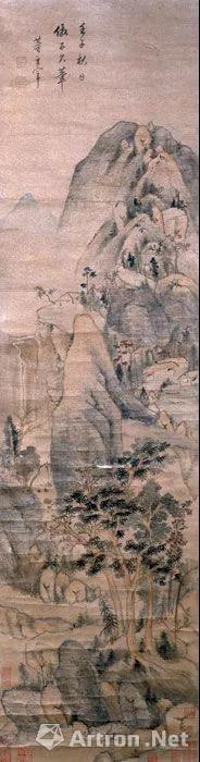 明董其昌仿黄公望山水图轴 长122.5厘米,横33厘米 现藏湖南省博物馆