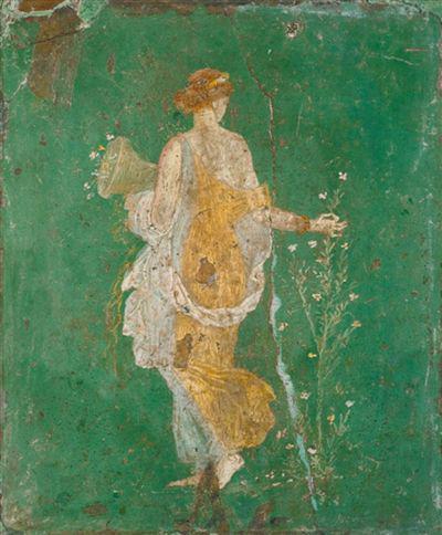 意大利那不勒斯国出土闭架式藏的庞贝水彩画《花神芙罗拉》。
